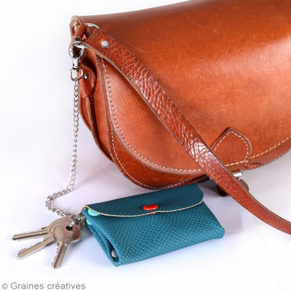 Porte clé mousqueton avec chaîne - 28 cm - Photo n°2