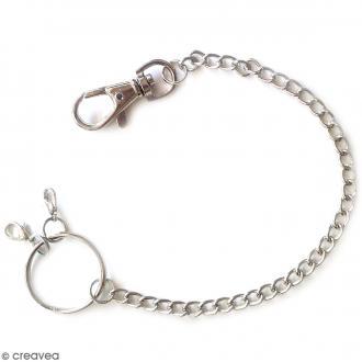 Porte clé mousqueton avec chaîne - 28 cm