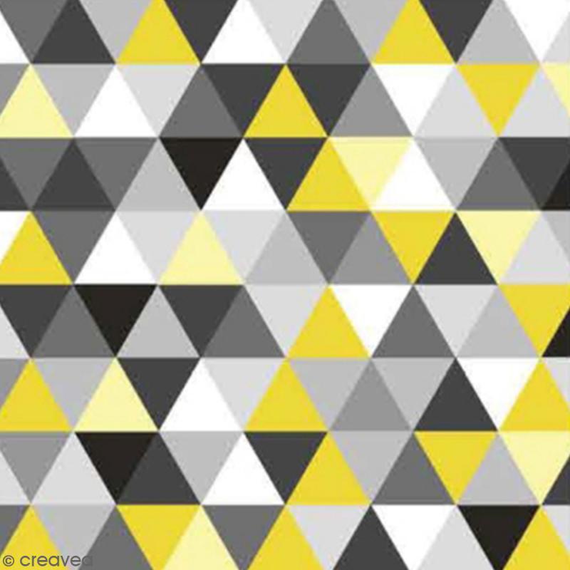 Serviette à l'unité - Triangles jaune et gris - Photo n°1