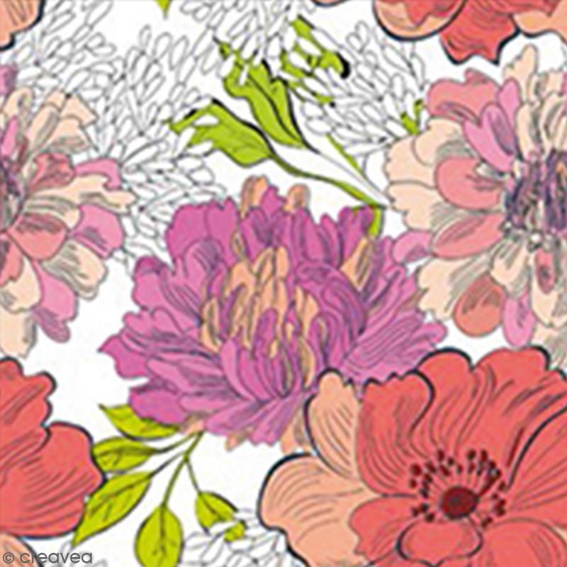 Serviette à l'unité - Fleurs - Photo n°1