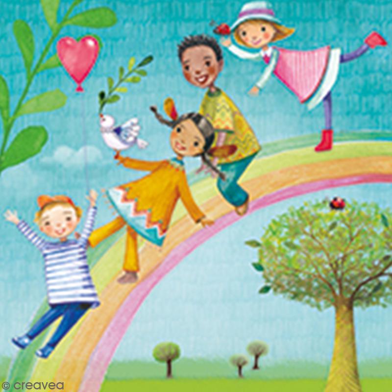 Serviette à l'unité - Enfants arc-en-ciel - Photo n°1