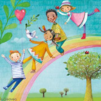 Serviette à l'unité - Enfants arc-en-ciel