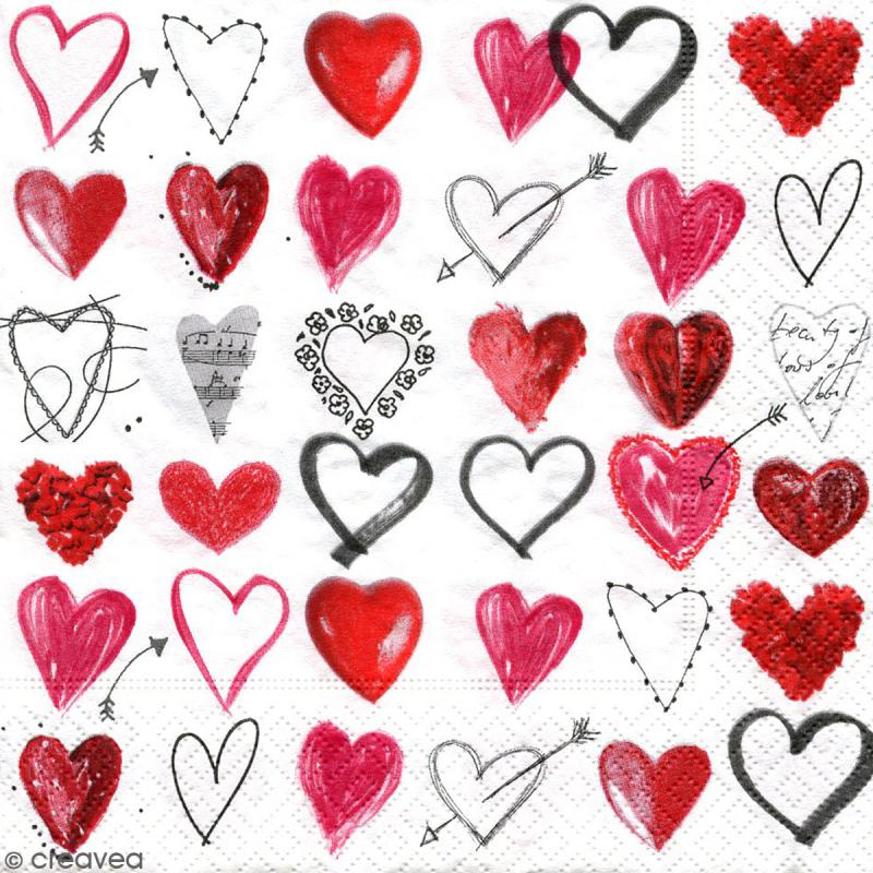 Serviette à l'unité - Coeurs - Photo n°1