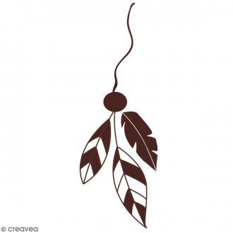 Tampon en bois - Suspension plumes - 8 x 4,5 cm
