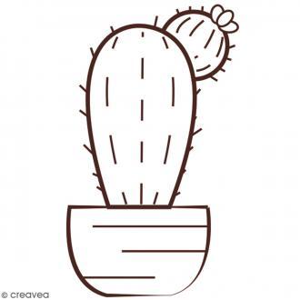 Tampon en bois - Cactus - 6,2 x 4,4 cm