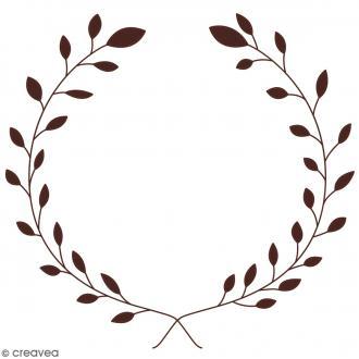 Tampon en bois - Couronne de fleurs - 9,7 x 9,9 cm
