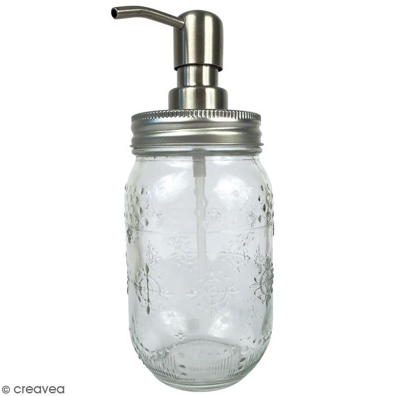 Pot distributeur de savon Mason jar - Arabesques - 375 ml - Photo n°1