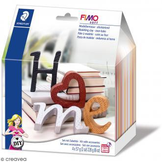 Kit pâte Fimo DIY - Lettres décoratives - 10 pcs
