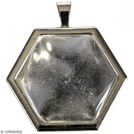 Pendentif avec cabochon - Argenté - Hexagone - 35 x 33 mm - Photo n°1