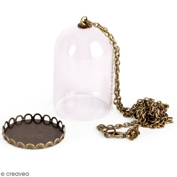 Pendentif Cloche en verre avec chaîne - Bronze - 30 cm - Photo n°1