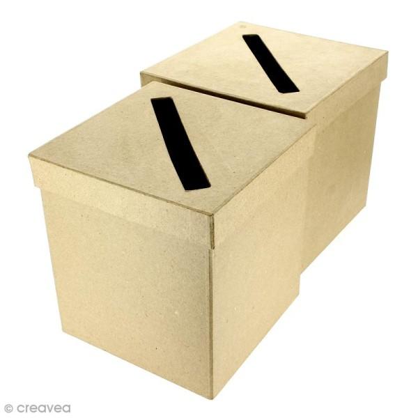 Urnes Carrées à décorer en papier maché - 18 x 18 x 19 cm - 2 pcs - Photo n°1