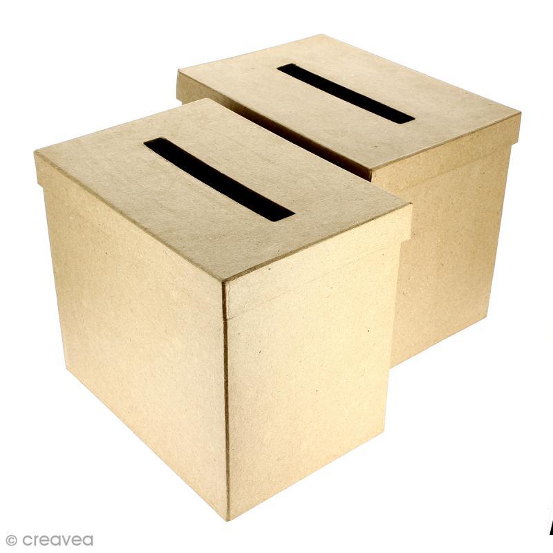 Urnes Rectangulaires à décorer en papier maché - 26 x 18 x 22 cm - 2 pcs - Photo n°1