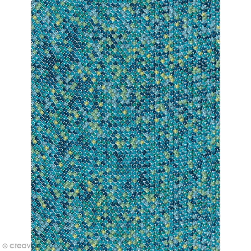 Décopatch N° 729 - Motif Ecailles bleues sur fond bleu - 1 feuille - Photo n°1
