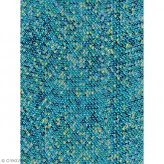 Décopatch N° 729 - Motif Ecailles bleues sur fond bleu - 1 feuille