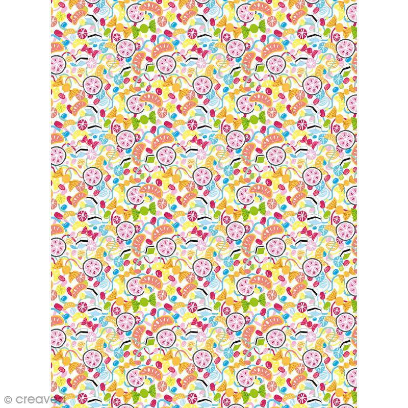 Décopatch N° 732 - Motif Bonbons sur fond blanc - 1 feuille - Photo n°1