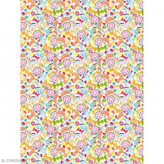 Décopatch N° 732 - Motif Bonbons sur fond blanc - 1 feuille