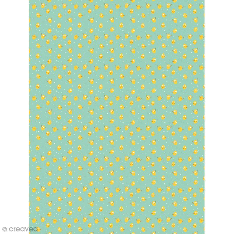 Décopatch N° 733 - Motif Citrons sur fond vert - 1 feuille - Photo n°1