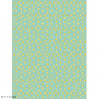 Décopatch N° 733 - Motif Citrons sur fond vert - 1 feuille