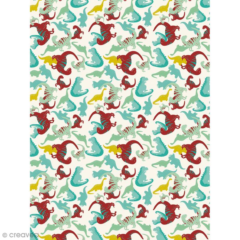 Décopatch N° 736 - Motif Dinosaures sur fond blanc - 1 feuille - Photo n°1
