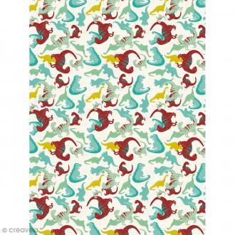 Décopatch N° 736 - Motif Dinosaures sur fond blanc - 1 feuille