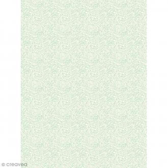 Décopatch N° 737 - Motif Ecorces vertes sur fond blanc - 1 feuille