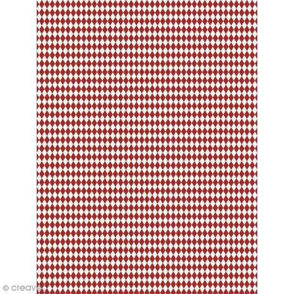 Décopatch N° 738 - Motif Losanges rouges sur fond blanc - 1 feuille - Photo n°1