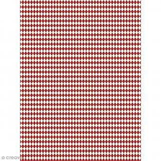 Décopatch N° 738 - Motif Losanges rouges sur fond blanc - 1 feuille
