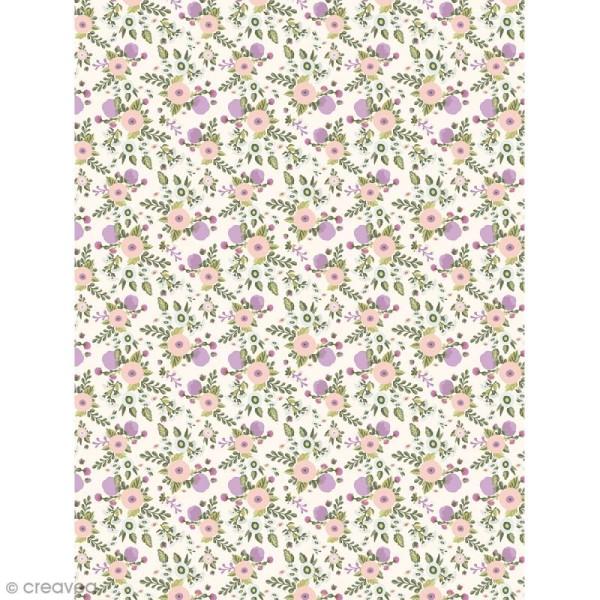 Décopatch Fleurs - violet et rose pastel 739 - 1 feuille - Photo n°1