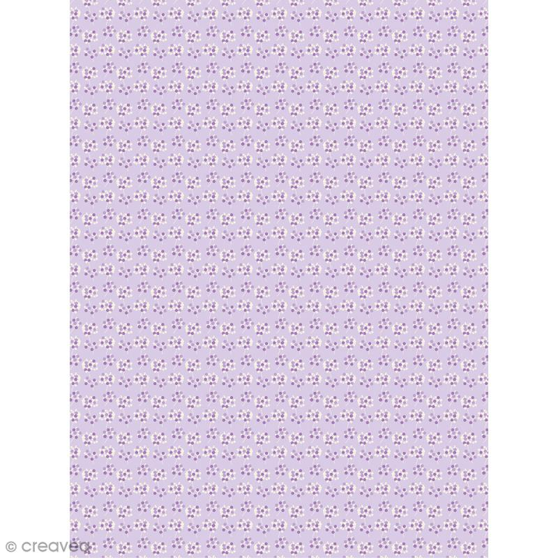 Décopatch N° 740 - Motif Fleurs sur fond violet - 1 feuille - Photo n°1