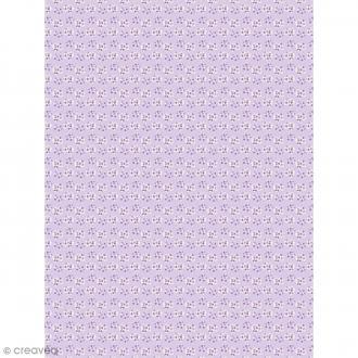 Décopatch N° 740 - Motif Fleurs sur fond violet - 1 feuille