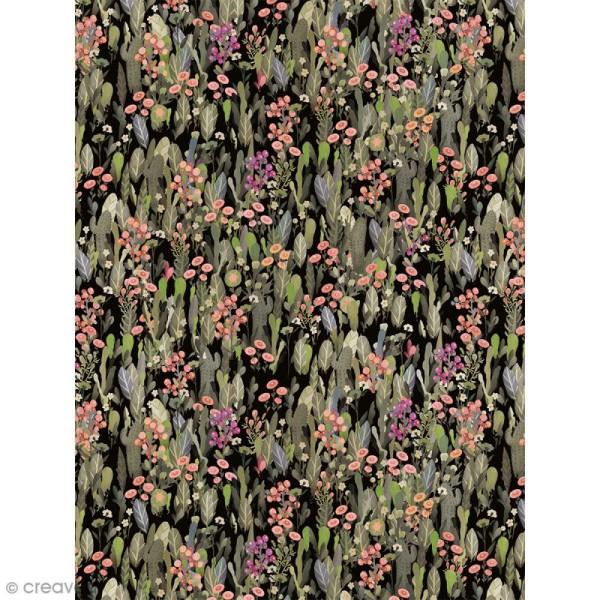 Décopatch N° 741 - Motif Fleurs tropicales sur fond noir - 1 feuille - Photo n°1