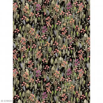 Décopatch N° 741 - Motif Fleurs tropicales sur fond noir - 1 feuille