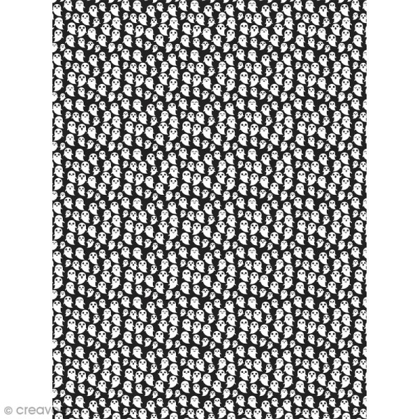 Décopatch N° 742 - Motif Fantômes sur fond noir - 1 feuille - Photo n°1