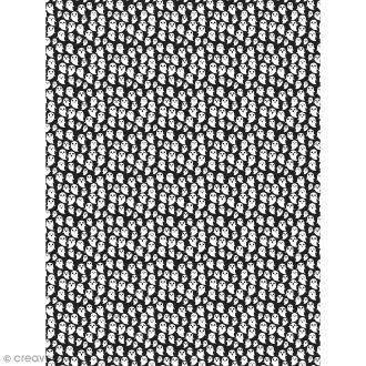 Décopatch N° 742 - Motif Fantômes sur fond noir - 1 feuille