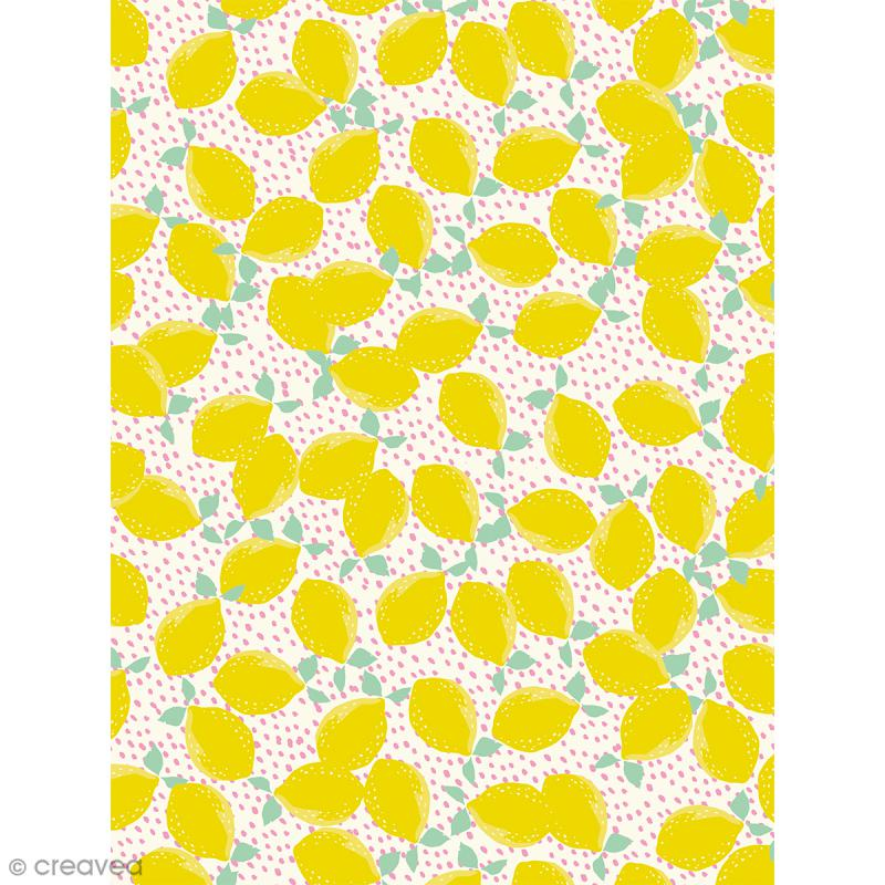 Décopatch N° 745 - Motif Gros Citrons sur fond Blanc et rose - 1 feuille - Photo n°1
