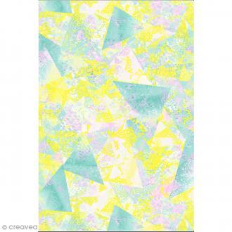 Décopatch N° 748 - Motif Triangles abstraits sur fond vert jaune et rose - 1 feuille