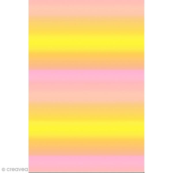 Décopatch N° 749 - Motif Dégradé de couleur sur fond rose et jaune - 1 feuille - Photo n°1
