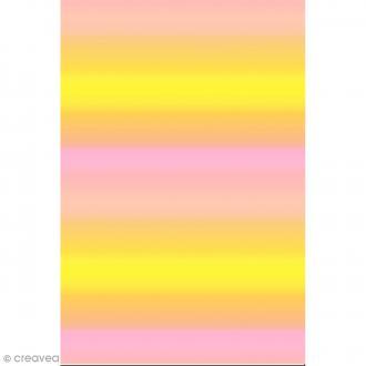 Décopatch N° 749 - Motif Dégradé de couleur sur fond rose et jaune - 1 feuille