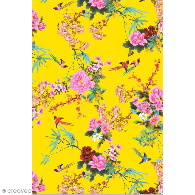 d copatch n 750 motif fleurs et oiseaux sur fond jaune 1 feuille feuille d copatch jaune. Black Bedroom Furniture Sets. Home Design Ideas