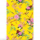Décopatch N° 750 - Motif Fleurs et Oiseaux sur fond jaune - 1 feuille - Photo n°1