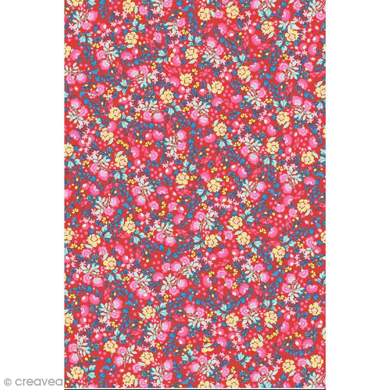 Décopatch N° 751 - Motif Fleurs  sur fond rouge - 1 feuille - Photo n°1