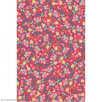 Décopatch N° 751 - Motif Fleurs  sur fond rouge - 1 feuille