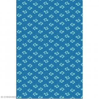 Décopatch N° 752 - Motif Feuilles style nénuphars sur fond bleu - 1 feuille