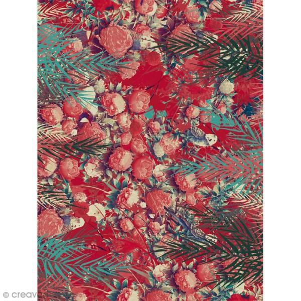 Décopatch N° 754 - Motif Fleurs tropicales sur fond rouge - 1 feuille - Photo n°1