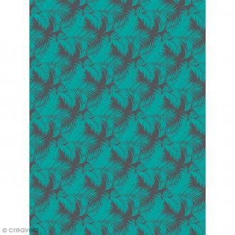 Décopatch N° 755 - Motif Feuilles tropicales Vertes sur fond noir - 1 feuille