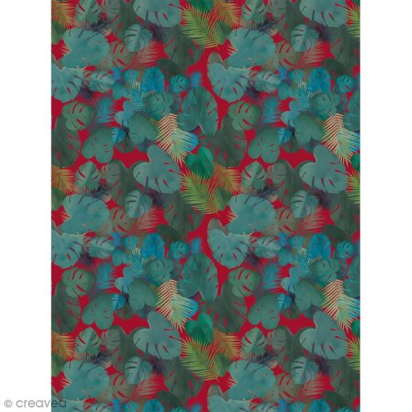 Décopatch N° 756 - Motif Feuilles sur fond rouge - 1 feuille - Photo n°1