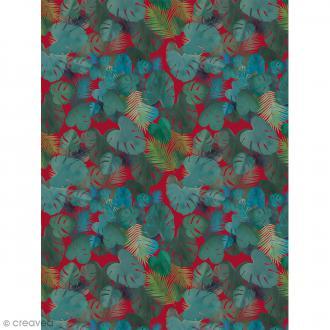 Décopatch N° 756 - Motif Feuilles sur fond rouge - 1 feuille