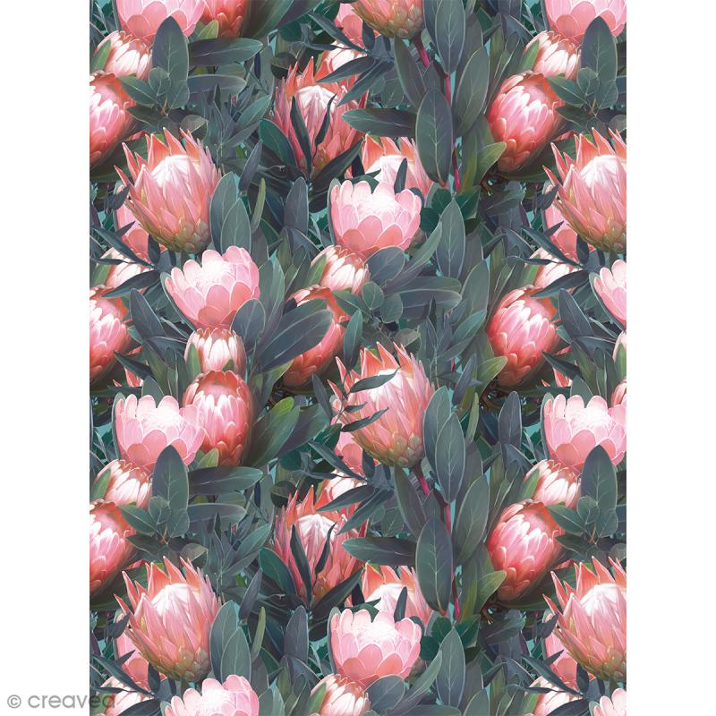 Décopatch N° 757 - Motif Fleurs roses sur fond de Feuilles vertes - 1 feuille - Photo n°1