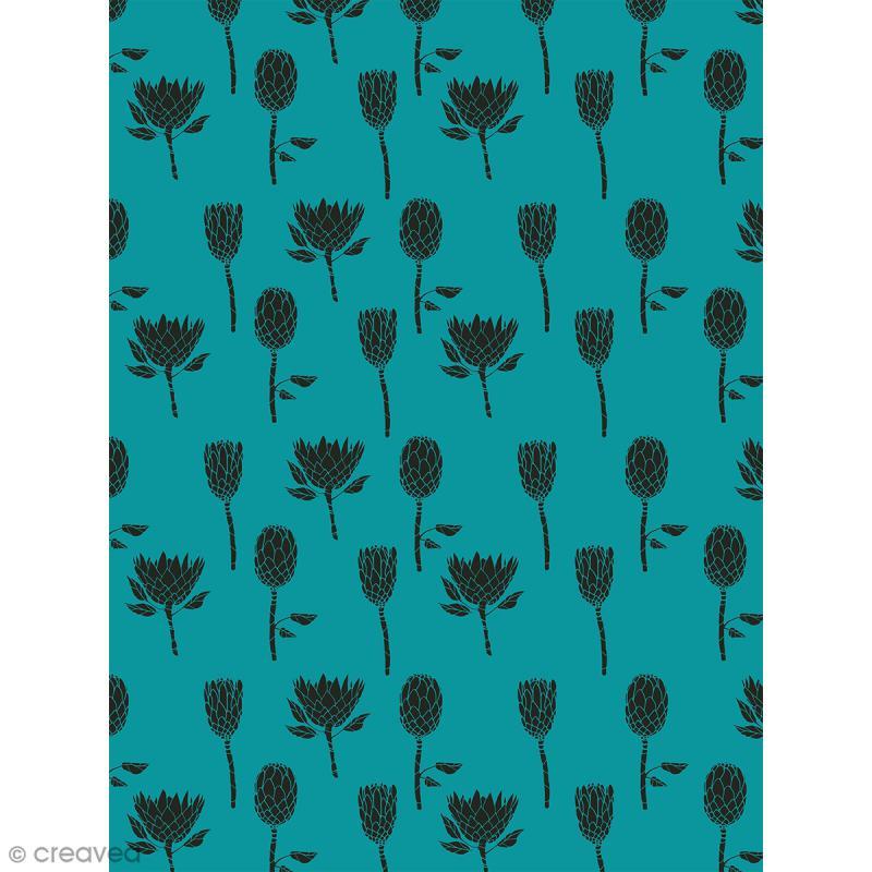 Décopatch N° 758 - Motif Fleurs Noires sur fond bleu vert - 1 feuille - Photo n°1
