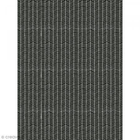Décopatch N° 759 - Motif Rayures blanches style aztèque sur fond noir - 1 feuille - Photo n°1